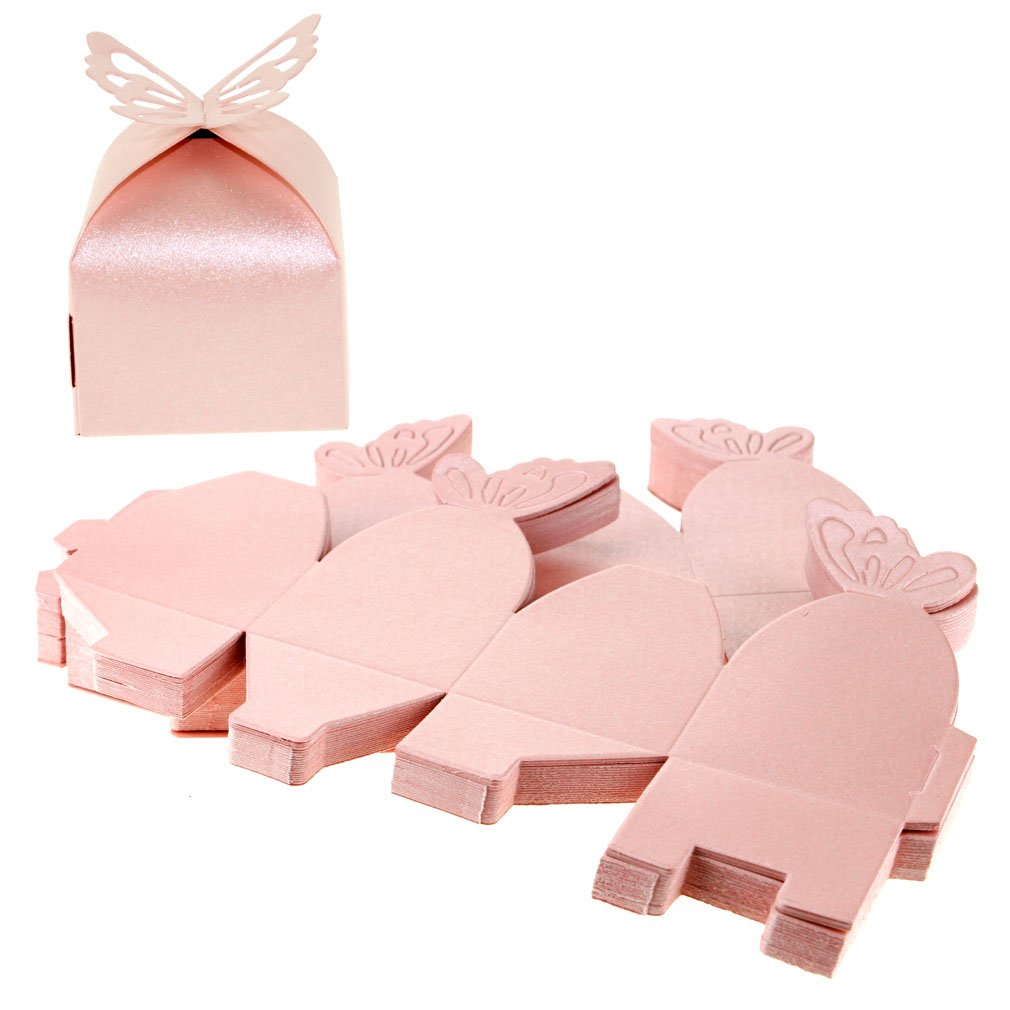 50pcs Pink Lovely Wedding Butterfly Favor Gift Candy Boxes SING F LTD