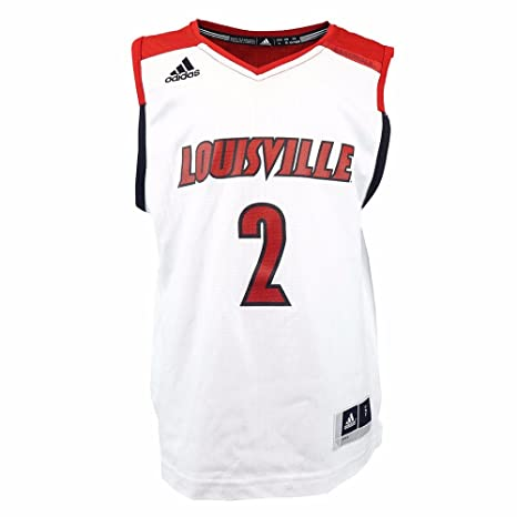 adidas Louisville Cardinals NCAA Boys White Official  2 March Madness Home  Replica Basketball Jersey ( bedf57c65