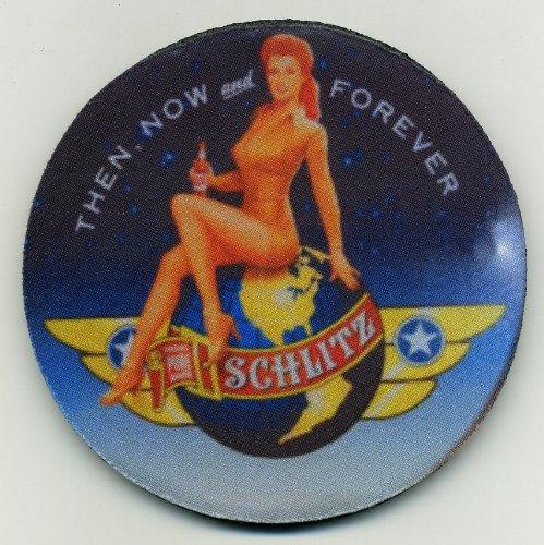 Schlitz Beer Coaster Set of 4 - World War ll Pinup Girl - Since 1849