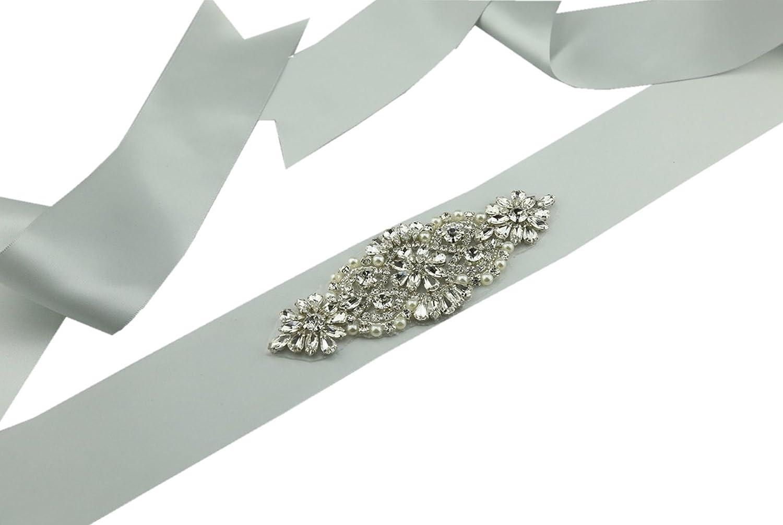 SoarDream Rhinestone Wedding Belt, Wedding Belt, Silver, Size(5.6x2inches).