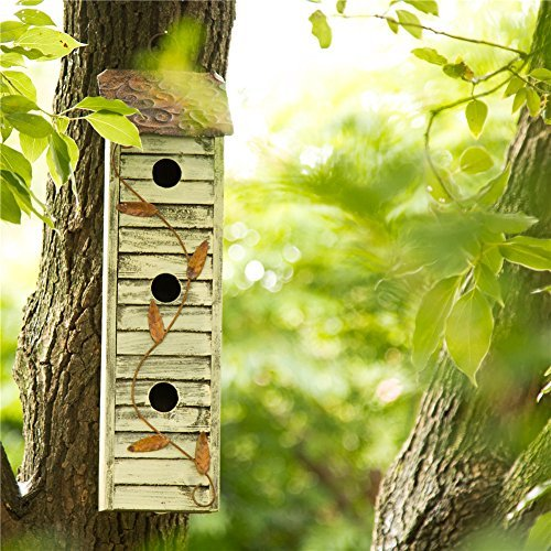 """Glitzhome Tall Three-Tier Hand Painted Wood Birdhouse, 17.95"""""""