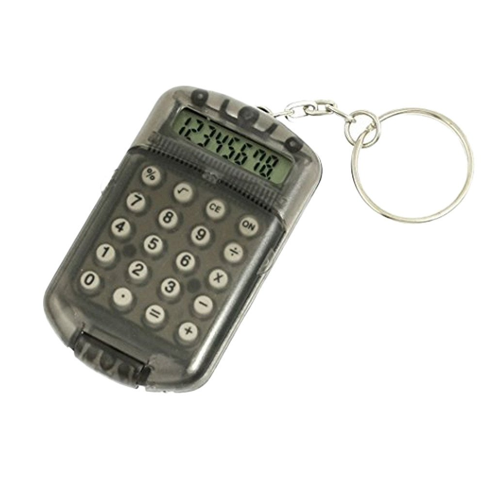 Calculator Pocket 8 Digits LCD Display Mini Plastic Calculator keychain for Kids School Home Office (Random)