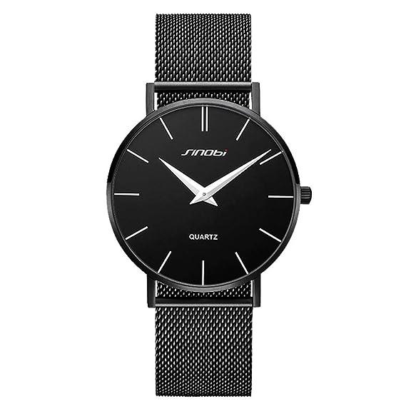 SINOBI Reloj de Pulsera Minimalista para Hombre, Correa de Malla de Acero Inoxidable, Reloj de Cuarzo