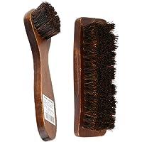 Prettyia 2pcs Practical Horse Hair Shoe Brush Shine Polish Buffing Brush Wooden Brown