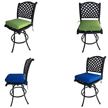 Strange Patio Bar Stools Outdoor Cast Aluminum Furniture Set Of 4 Bar Height Nassau Swivel Armless Machost Co Dining Chair Design Ideas Machostcouk