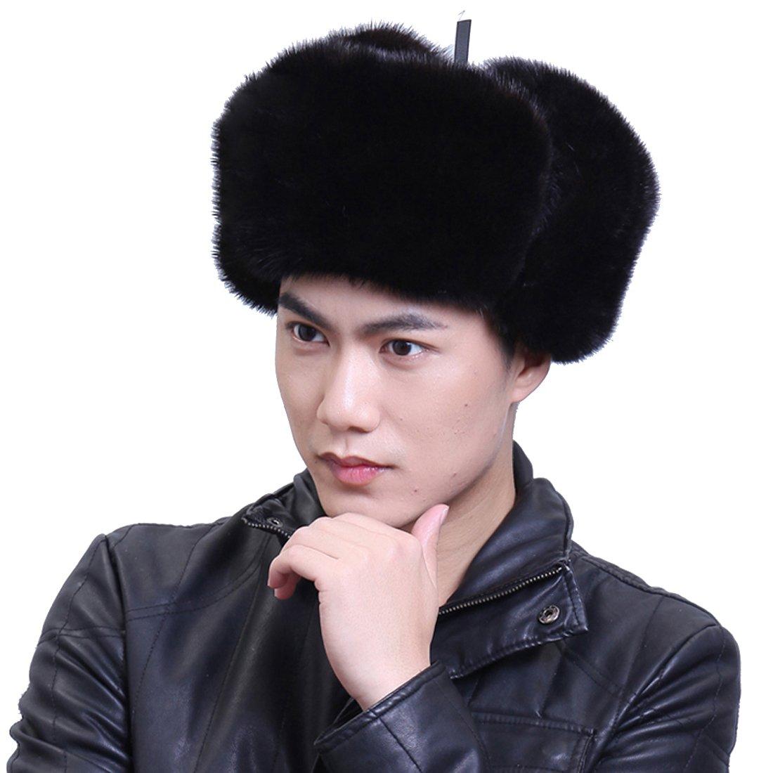 URSFUR Men's Mink Fur & Leather Russian Ushanka Hats (One Size, Black)