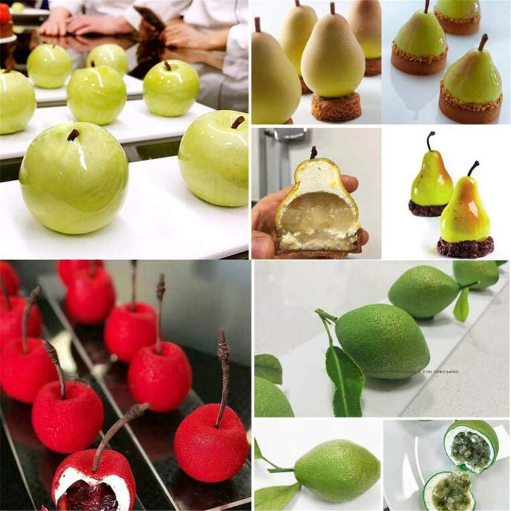 2 Pcs 3D Fruit Apple Pear Cherry Lemon Silicone Cake Molds, Baking Mousse Cake Decorative Mould, Dessert Muffin Chocolate Jelly Mould, DIY Silicone Bakeware Pan,Cake Pop Mold Baking Tray by VAlink (Image #8)