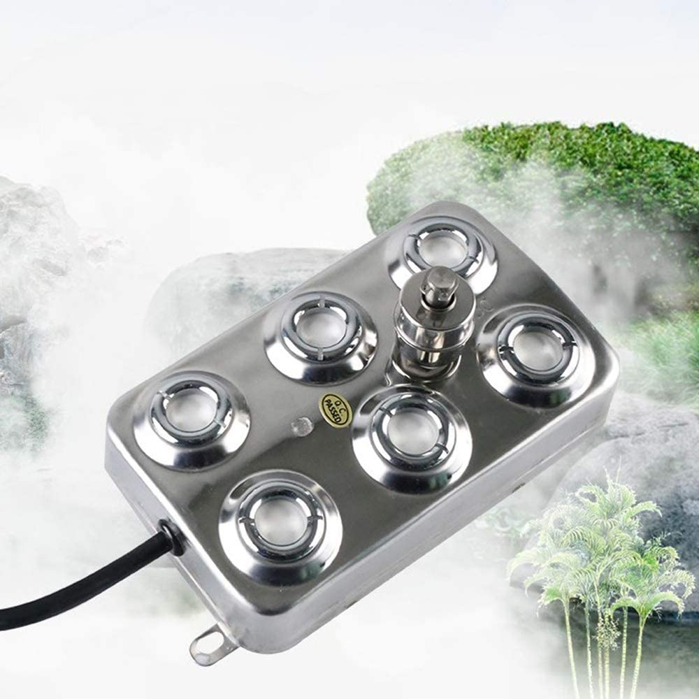 SKYTOU Mist Maker Fogger, 6 Head Ultrasonic Fog Machine 304 Stainless Steel with Transformer for Greenhouse Garden Lawn and Pond