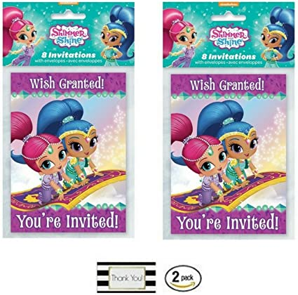 Amazon.com: Shimmer y Shine 2 Paquete de 8 invitaciones ct ...