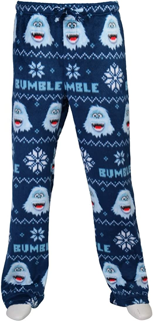 new mens fleece bumble rudolph the red nosed reindeer sleep lounge pants.