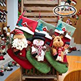 CMiko Classical Christmas Stockings, 3 Pack Cute Socks Hanging in Xmas Tree Home Restaurant Hotel Decorations and Party Supplies, 17 Inch Large Size Burlap Stuffed Toys Candy Gift Bag Holders for Kids