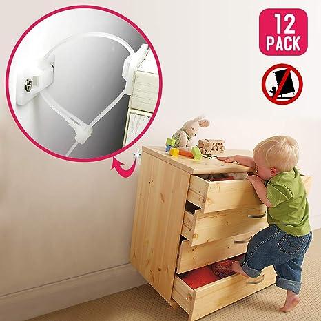 12 juegos Anclaje Antivuelco Armario Pared de Nylon & Seguridad Bebe Kit Anclar Muebles, Correas de Gabinete de Nylon Antivuelco para Protección de Bebés y Mascotas: Amazon.es: Bebé