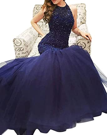 Baijinbai Womens Mermaid Evening Dresses Long Heavy Beaded Prom Dress Gowns Blue UK20