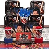 "Star Wars The Force Awakens"" Party Supply Kit - Serves 8 - Beverage Napkins, Luncheon Plates, Decorative Table Cover, Paper Cups, Plastic Spoons, Forks, Knives, Red and Blue Streamer"
