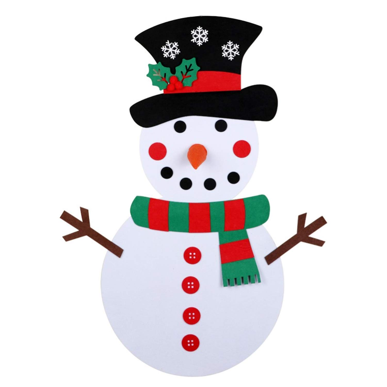 Gosear Adornos Navideños 11.02 x 14.96 Pulgadas DIY Fieltro Navidad Juego de muñeco de Nieve con 28pcs Adornos Desmontables para Navidad Decoraciones de Navidad Regalos para niños Rojo