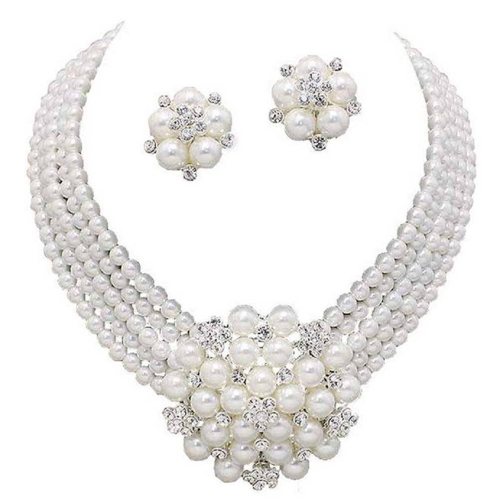 Elegant Statement White Pearl Cluster Crystal Bridal Silver Chain Necklace Set CLIP ON Earring