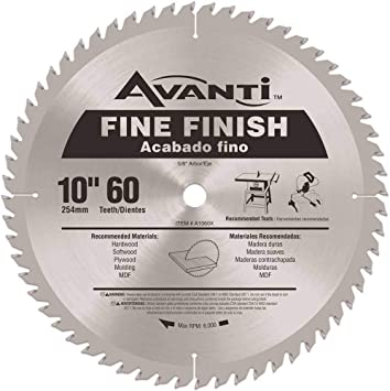 Avanti 10 In X 60 Tooth Fine Finish Circular Saw Blade Amazon Com