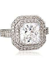 """CZ by Kenneth Jay Lane """"Classic"""" Emerald Cubic Zirconia Double Tiered Ring, Size 7, 6 CTTW"""