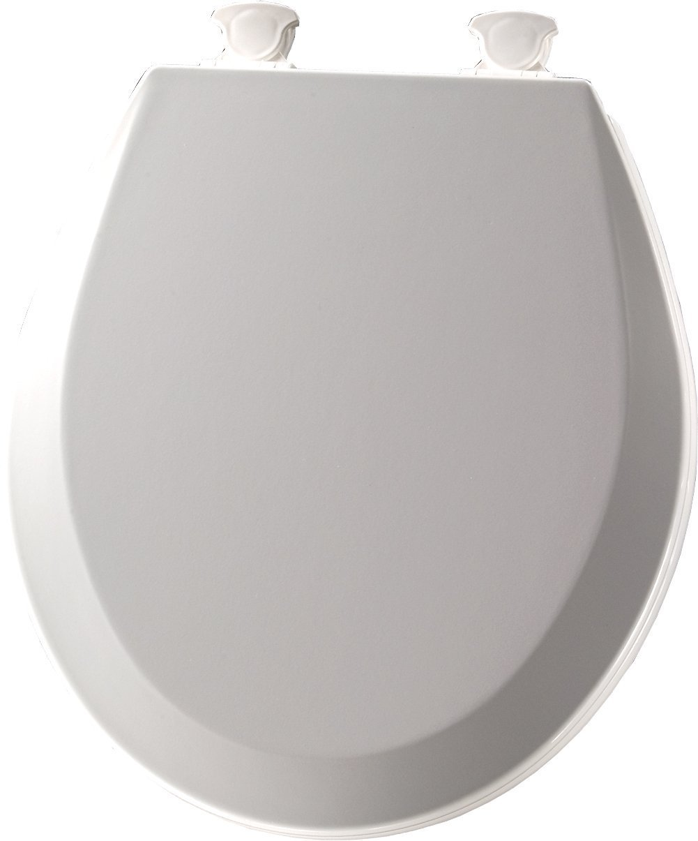 Bemis 500EC 062 Molded Wood Round Toilet Seat With Easy Clean & Change Hinge, Ice Grey