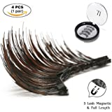 Magnetic Eyelashes IMIM Magnetic Lashes 3 Lash Magnetic Eye Lashes 3D Reusable Soft False Eyelashes No Glue Cover the Entire Eyelids for Natural Look (4 PCS)