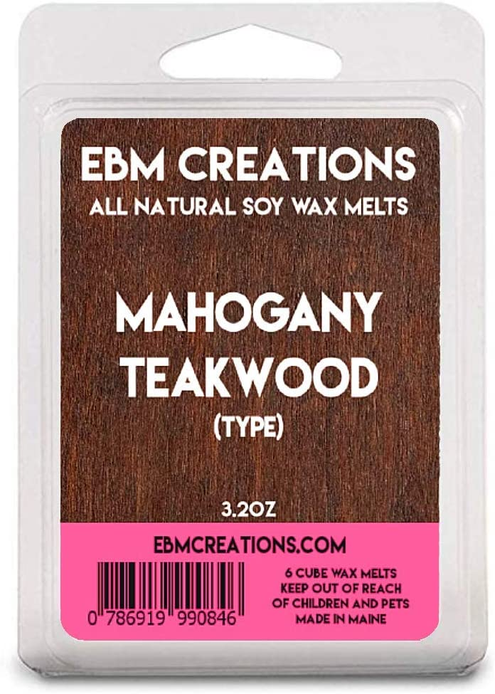 EBM Creations Scented All Natural Soy Wax Melts - 6 Pack Clamshell 3.2oz Highly Scented!(Mahogany Teakwood (Type))