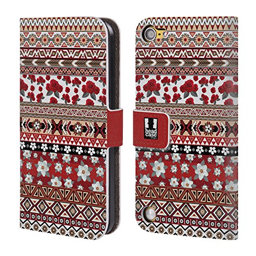 Official One Direction 1D Red And White Floral Aztec Leather Book Wallet Case Cover for Apple iPod Touch 5G 5th Gen / 6G 6th Gen