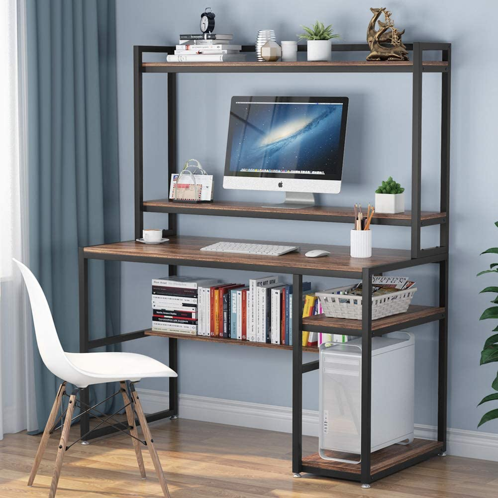 Amazon Com Tribesigns Computer Desk With Hutch And Shelves 47 Inches Home Office Desk With Bookshelves And Cpu Stand Writing Desk Pc Study Table Workstation For Small Spaces Rustic Brown Kitchen Dining