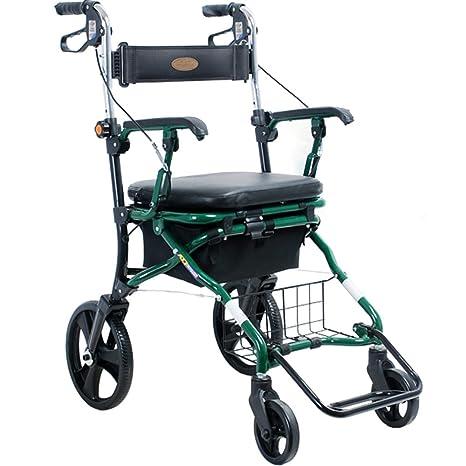 Andador de acero inoxidable Walker plegable con ruedas (4 ...