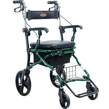 Andador de acero inoxidable Walker plegable con ruedas (4 ruedas ...