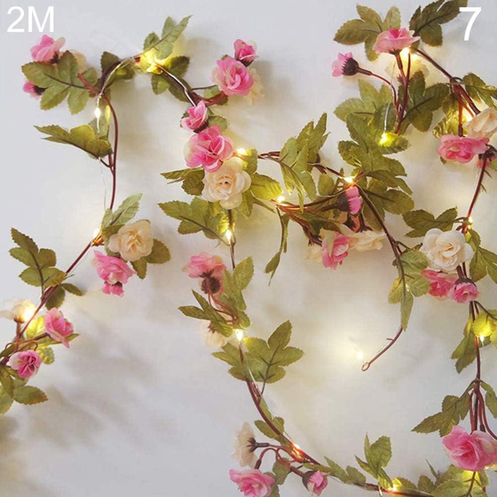 NAttnJf 2/5 / 10M Hojas Artificiales Alambre de Cobre LED Light Wedding Party Valentine Day Decor Lamp 7#