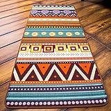 "USTIDE Modern Simple Rustic Kitchen Rugs Waterproof Floor Carpets National Wind Geometry Pattern Rectangle Doormat Durable Area Rug for Living Room and Bedroom (17.1""x47.2"", Multi)"