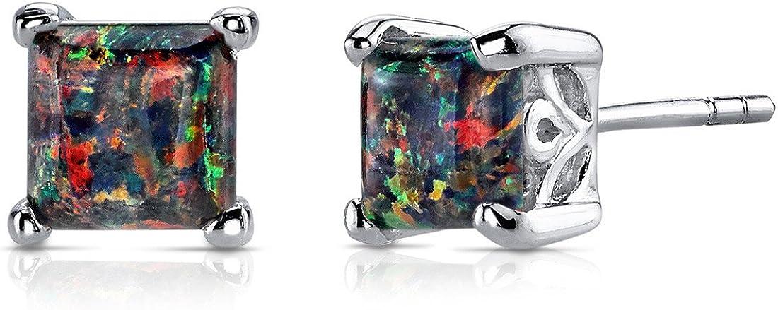 Created Black Opal Stud Earrings Sterling Silver Princess Cut 2.00 Carats