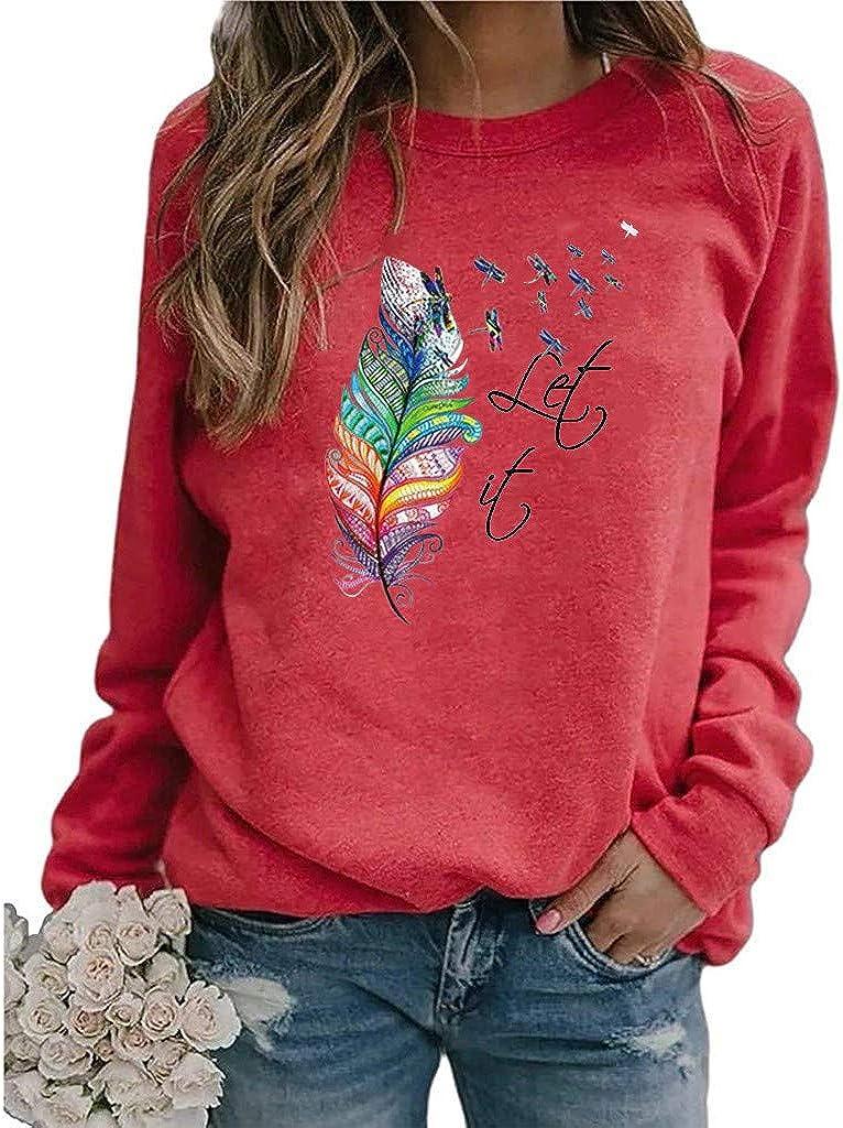 NECHOLOGY Womens Crewneck Sweatshirt Cute Print Long Sleeve Casual Sweatshirts Pullover Tops Blouse Shirts Sweater