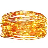 easyDecor Solar String Lights 100 LED 33ft Waterproof Flexible Copper Wire Starry String Lights for Christmas Patio Path Party Lawn Garden Wedding Party and Holiday Decoration (Warm White)