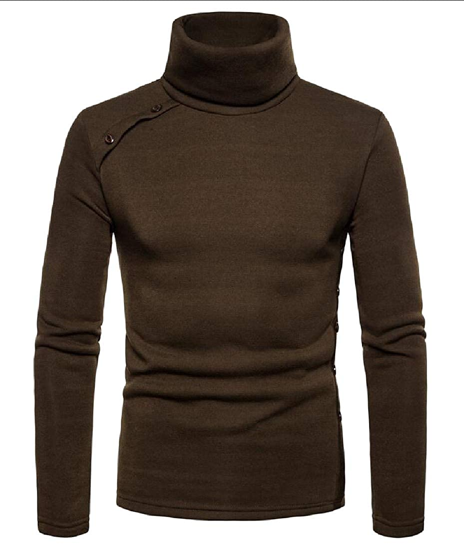Etecredpow Mens Slim Fit Knitted Pullover Turtleneck Button Jumper Sweaters