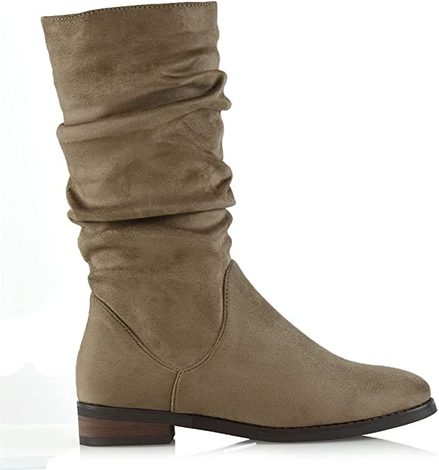 Womens Mid Calf Boots Ladies Rouched Casual Comfy High Heel Slouched Shoes Sizes