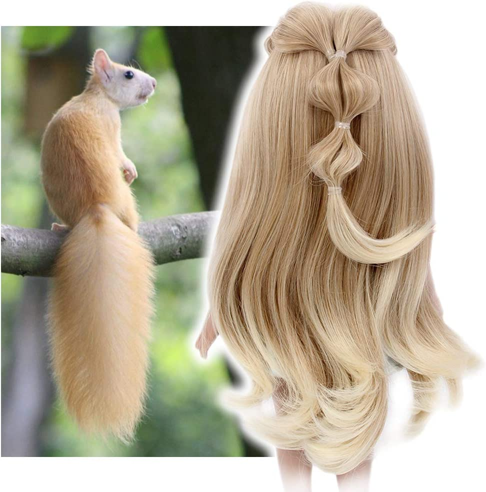 STfantasy Doll Wig for 18 Inches Doll Girls Gift Brown Ombre Blonde Long Curly Synthetic Hair