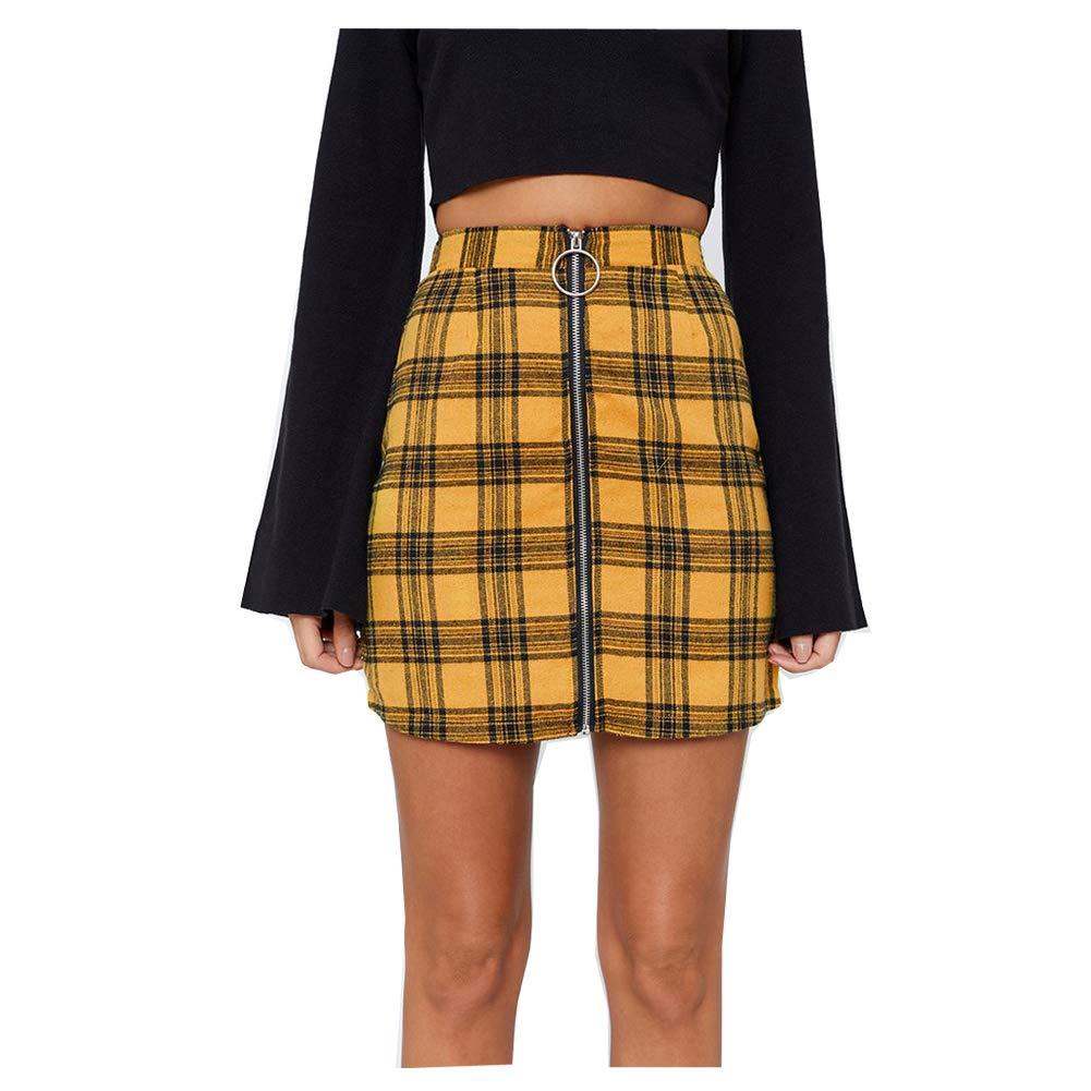Morbuy Falda Mujer Corta Elástica Plisada Corta Cintura Alta hasta ...