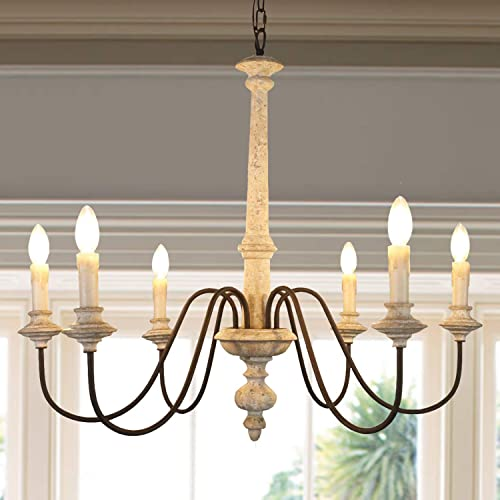 Febturniture 33″ French Country Wood Chandelier