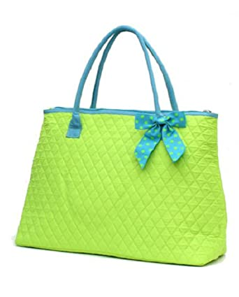 57c1ab9907 Amazon.com  Lar Lar Quilted Solid Extra Large Tote Bag (Lime Blue ...