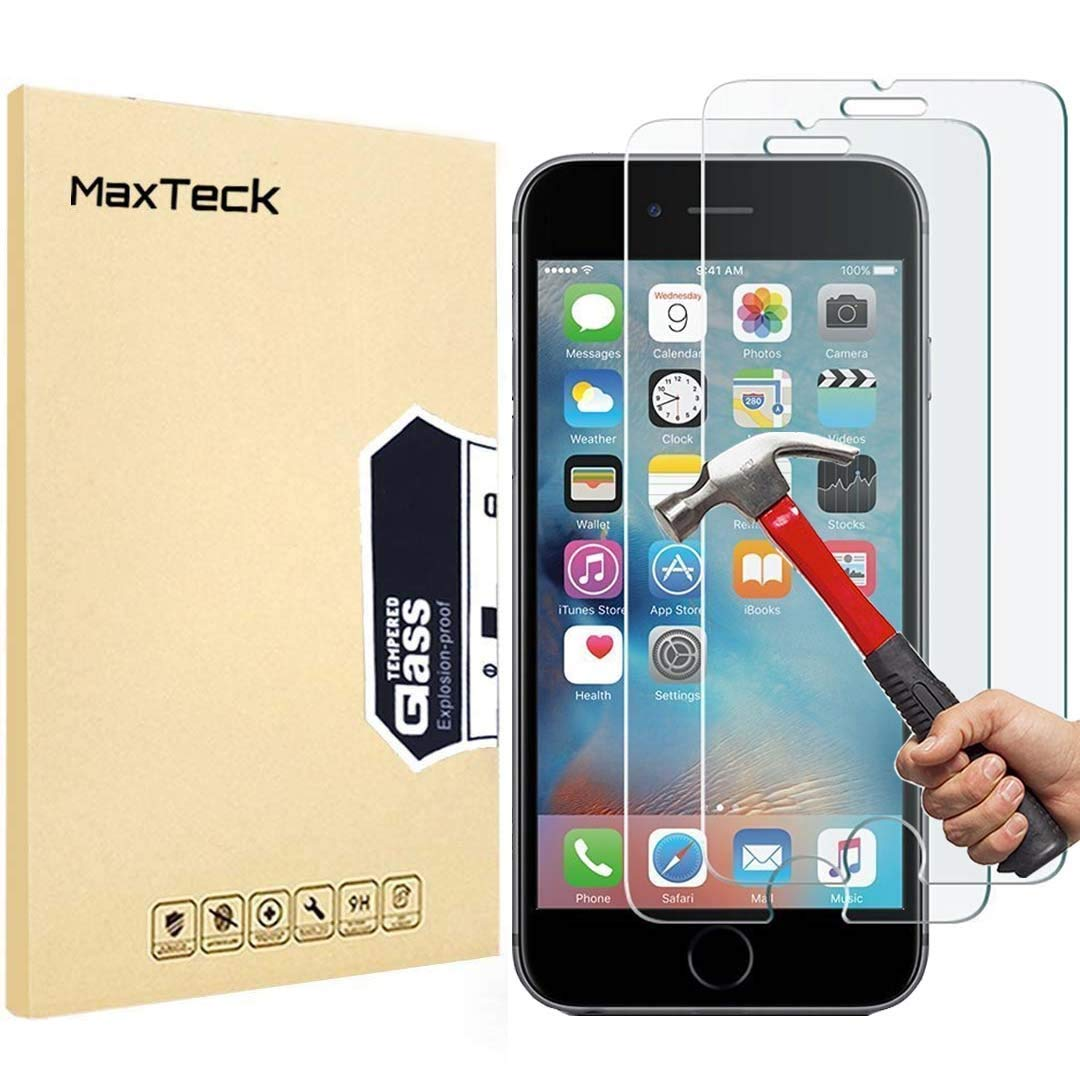 MaxTeck [3-Unidades] iPhone 6 Plus / 6S Plus Protector de Pantalla, 0.26mm 9H Templado Pantalla inastillable Protector de Cristal para iPhone 6 Plus / 6S Plus [3D Toque Compatible]