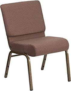 Flash Furniture HERCULES Series 21''W Stacking Church Chair in Brown Dot Fabric - Gold Vein Frame