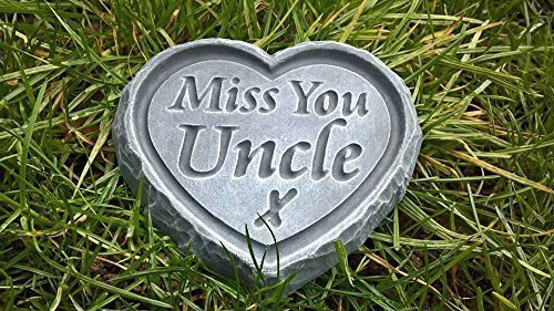 NEW!Miss You Uncle Black /& Gold ENGRAVED STONE Heart Memorial Graveside Garden Plaque