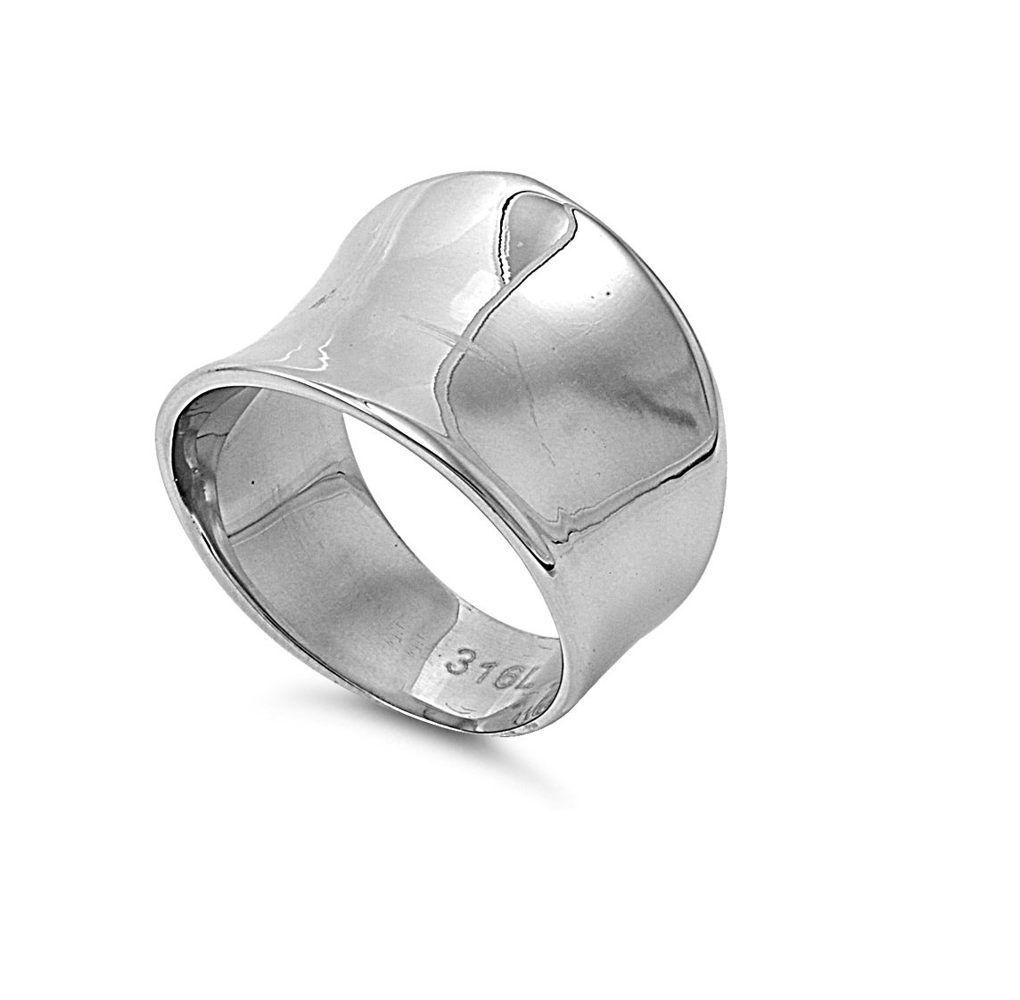 Stainless Steel Plain Simple Concave Ring Size 8