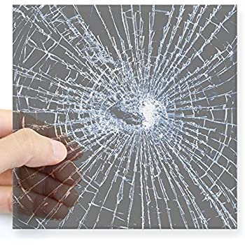 Cafepress broken glass 2 gray sticker square bumper sticker car decal 3