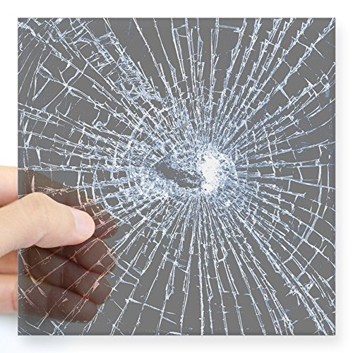 CafePress Broken Glass 2 Gray Sticker Square Bumper Sticker Car Decal, 3