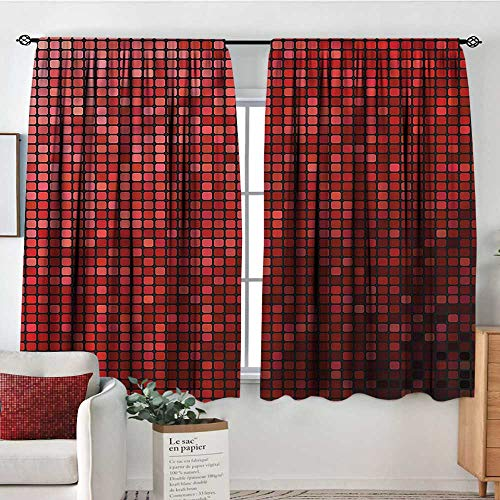 (Sanring Maroon,Backout Curtains Abstract Mosaic Grid Ombre 72