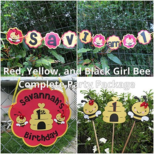 Girl Bumble Bee Party Decorations - Complete Party Package - Red and Yellow by Monkey Lime Studios