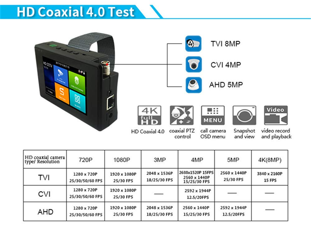 4K 5 in 1 IP Camera Tester, IP/TVI/CVI/AHD/CVBS Camera Monitor Test, 4 inch Monitor Touch Screen, POE/IP Discovery/Rapid ONVIF/Camera Test Report, 1800ADH-Plus CCTV Tester by AP Security (Image #5)