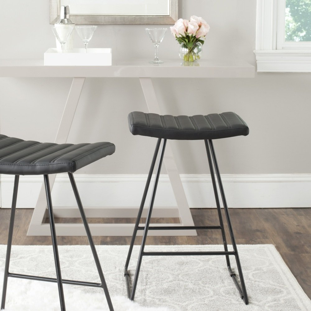 Safavieh Home Collection Akito Mid-Century Modern Black 26-inch Counter Stool (Set of 2) by Safavieh